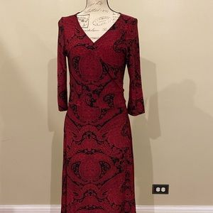 Jones Wear Black & Red Wrap Dress